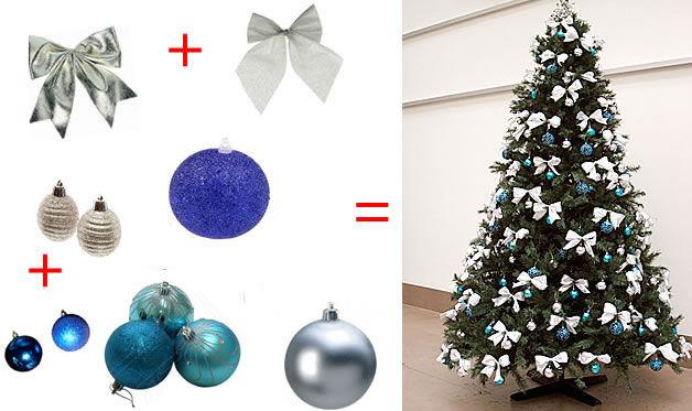 decoracao de arvore de natal azul e prata : decoracao de arvore de natal azul e prata:decoracao-de-arvore-de-natal-com-laco-e-bolas